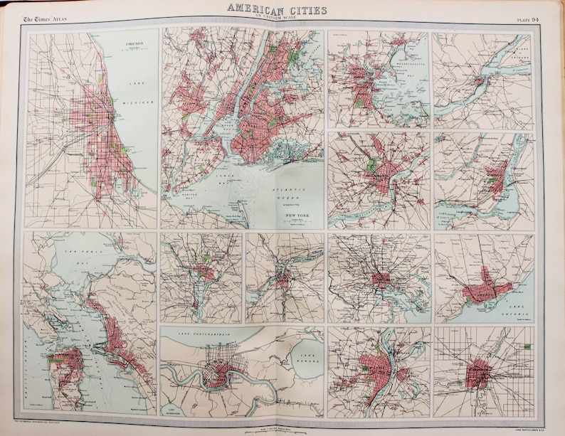 Map Of North America And Canada With Cities.Huge 1922 Antique Map North America Usa Canada Cities Vintage Colour Map 94