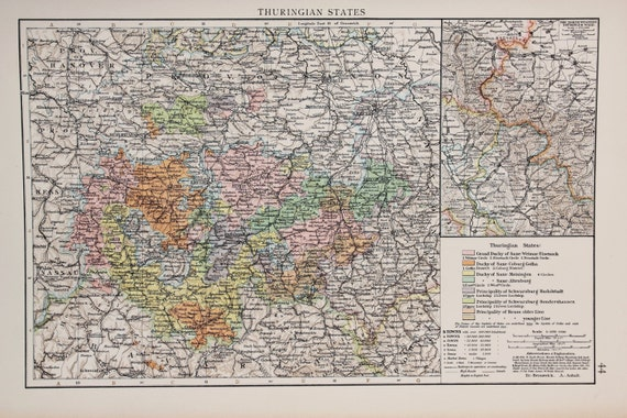 Map Of Germany 1900.1900 Antique Times Map Europe Germany Thuringian States