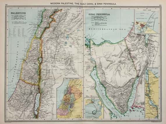 Antique Map : Palestine, Israel, Sinai Peninsula, Harmsworth c. 1907.  Lovely Pastel Colours