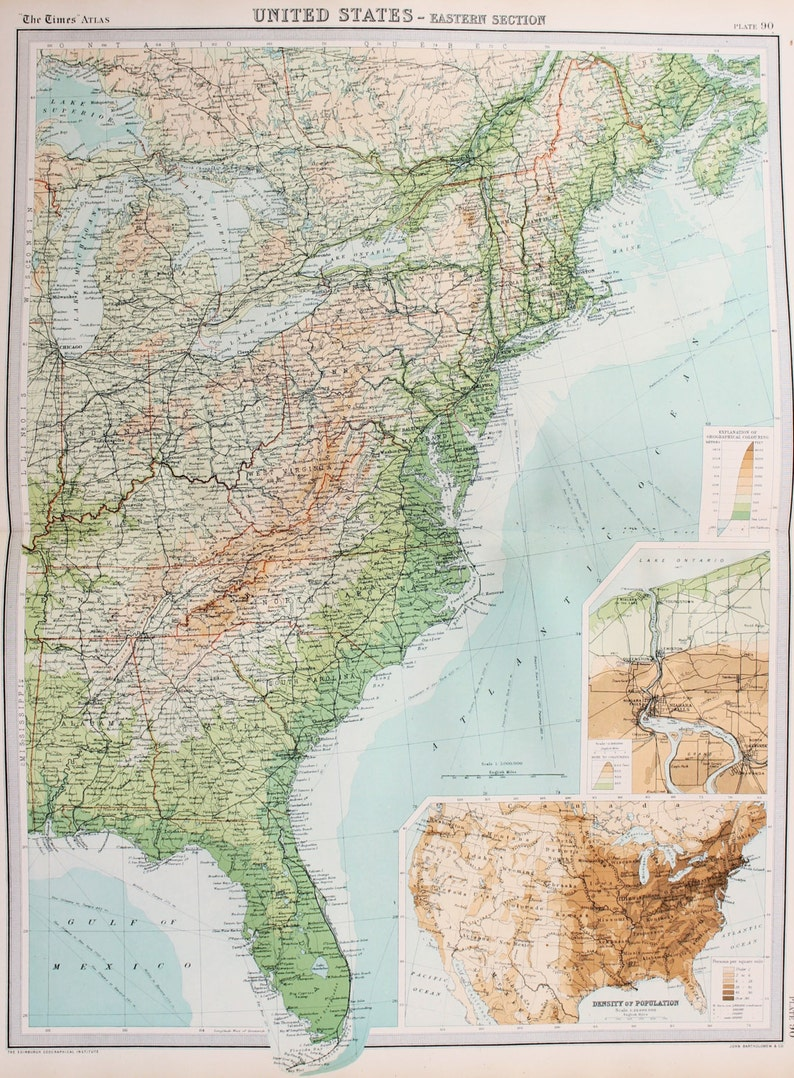 Huge 1922 Antique Map North America USA Eastern Seaboard | Etsy