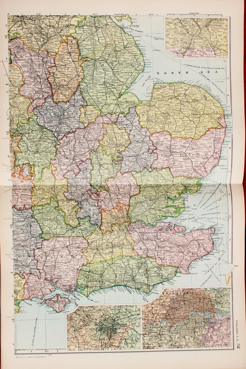Map East Of England.Antique Map South East England East Anglia Bacons C 1901 Lovely Pastel Colours