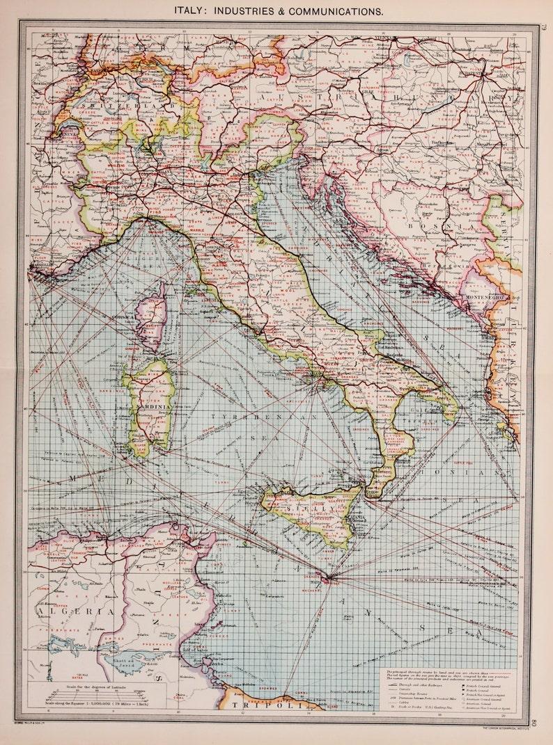 Carte Italie Balkans.Antique Carte Italie Balkans Grece Turquie Asie Mineure Industries Et Voies De Communications Harmsworth C 1907 Belles Couleurs Pastel