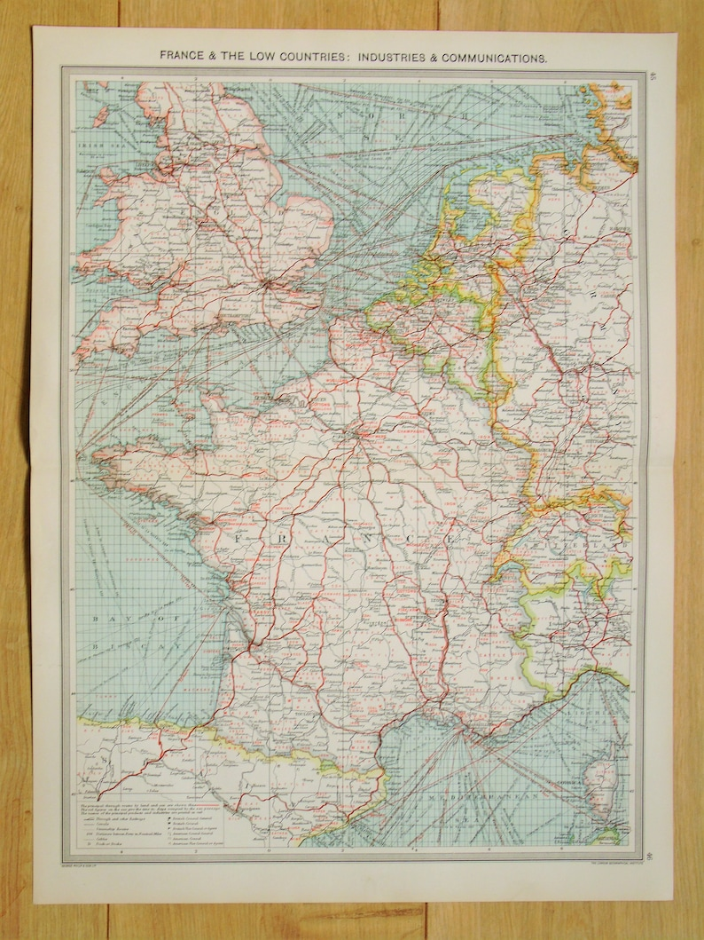 Map Of Europe England.Antique Map Western Europe England France Etc Industries Communications Routes Harmsworth C 1907 Lovely Pastel Colours