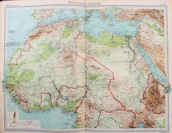 Huge 1922 Antique Map, Northern Africa, Sahara Desert, Vintage Colour Sahara Map on arabian peninsula map, sudan map, namib map, congo basin map, great rift valley map, atlas mountains map, mecca map, gobi map, lake tanganyika map, zambezi river map, zagros mountains map, red sea map, kalahari map, madagascar map, desert map, sahel map, cape of good hope map, taurus mountains map, atacama map, africa map,