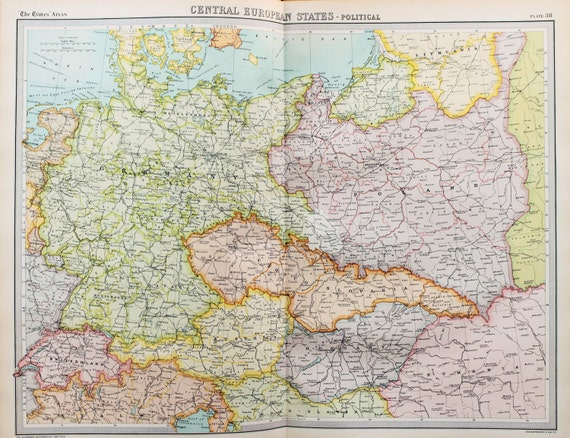 Map Of Europe 1922.Huge 1922 Antique Map Central Europe Map Germany Austria Etsy