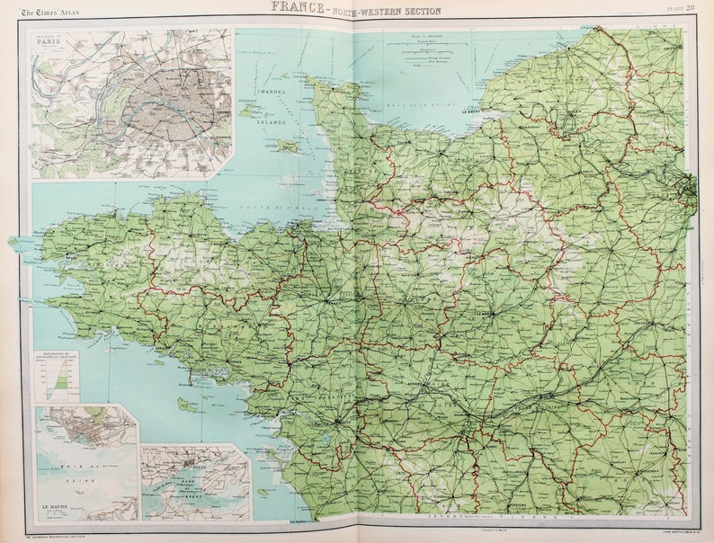 Map Of Northwest France.Huge 1922 Antique Map North West France Paris Vintage Etsy