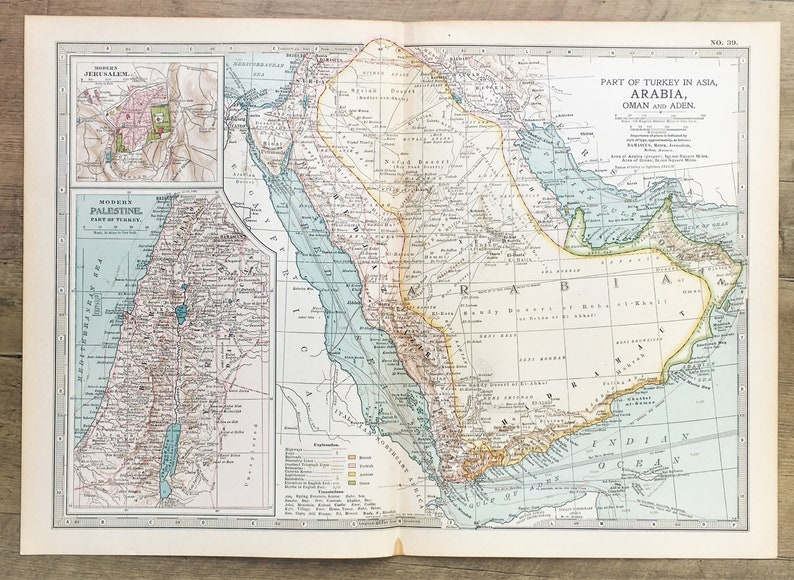 Antique Map : Saudi Arabia, Palestine, Jerusalem, Asia, Middle East. on map of jerusalem and west bank, map of jerusalem and mecca, map of jerusalem and world, map of jerusalem and egypt, map of jerusalem and jordan, map of jerusalem and dead sea, map of jerusalem and surrounding countries,
