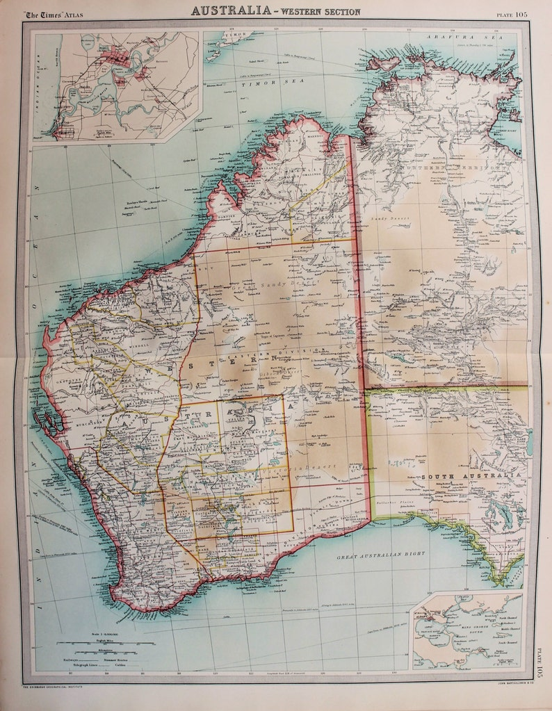 Map Of South Australia And Northern Territory.Huge 1922 Antique Map Western Australia Northern Territory Etsy