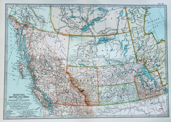 Antique Map Western Canada British Columbia North West Etsy