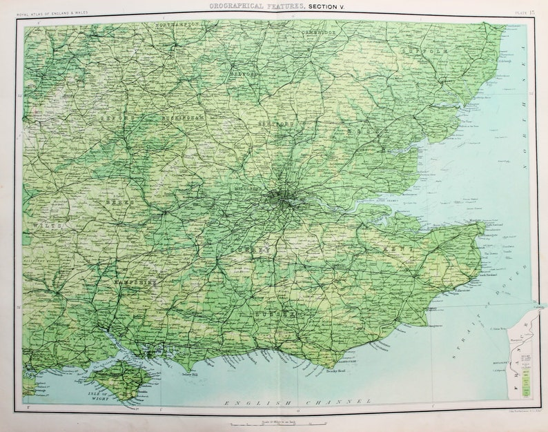 Map Of South East England Counties.Antique Maps Orographical Features South East England Etsy