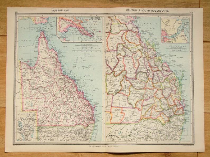 Map Of Queensland Australia.Antique Map Queensland Australia Harmsworth C 1907 Lovely Pastel Colours