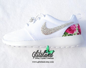 82965206cb83 Swarovski White Nike Roshe with pink flower print heel Customized with  SWAROVSKI® Crystals