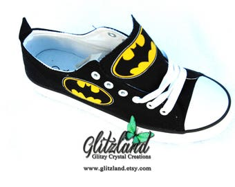 2db5f4c3e6c5 Adult CONVERSE Chuck Taylor Low Top With Batman Logo Customized with  SWAROVSKI® Crystals UNISEX (Runs large for Women)