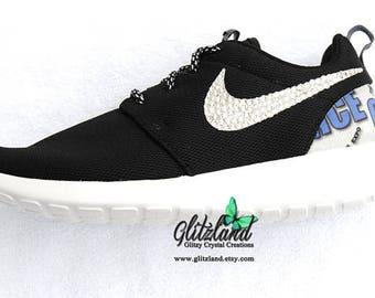 Swarovski Black White Girls Women Nike Logo Print Heel Roshe Run Customized  with SWAROVSKI® Crystals df9b0c6443ff