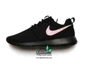 cde741fa5bef Swarovski Nike ALL Black Roshe Run Customized with SWAROVSKI® Crystals