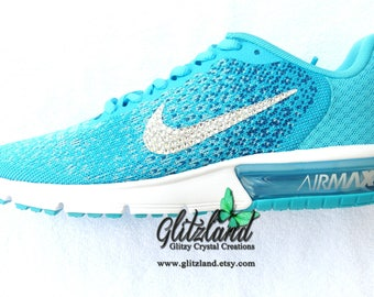 SALE Swarovski Womens Size 7.5 Nike Air Max Sequent 2 Customized with  SWAROVSKI® Crystals d54b9d8a26d0
