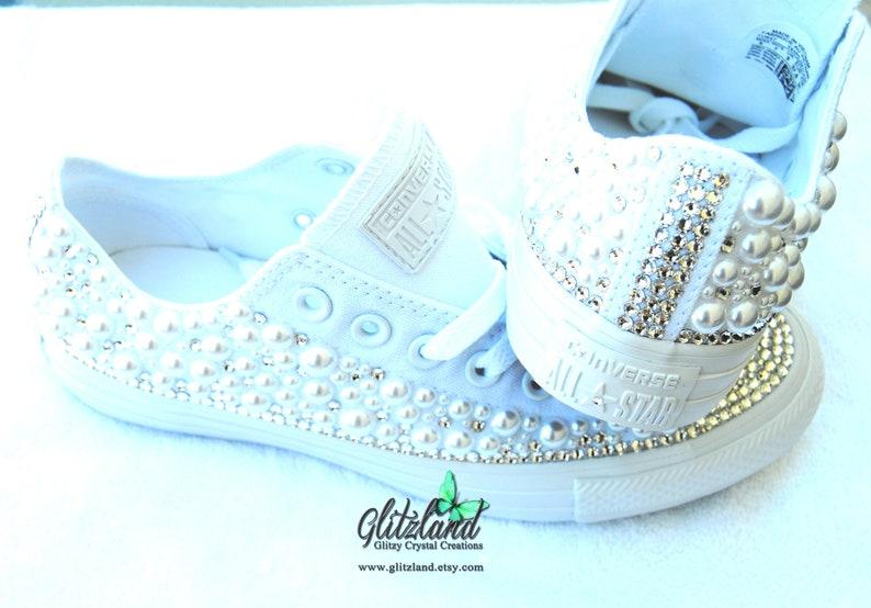 7b33bc0837 Donna Converse tutte bianco sposa Prom personalizzato con | Etsy