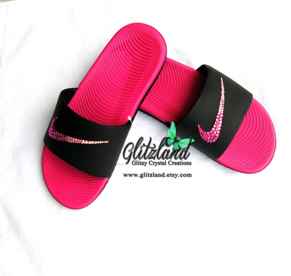 9b46f11524e4e Swarovski Nike Kawa Slides Flip Flops Customized with Ombre Pink SWAROVSKI®  Crystals