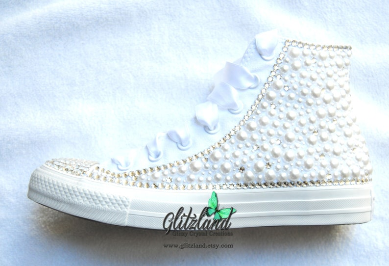 7eb56350c838 Bridal Converse Crystals Bling All White Satin Laces