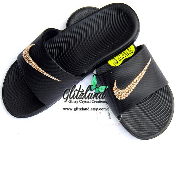 87dae9d3d8b86 Swarovski Women Nike Kawa Slides Flip Flops Customized with Gold SWAROVSKI®  Crystals