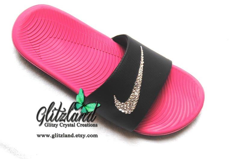 40eb6745c670fe Swarovski Girls 6 Women 7.5 Nike Kawa Slides Flip Flops