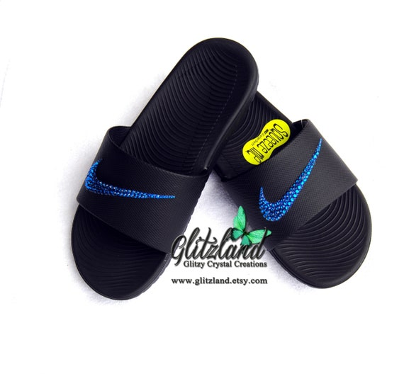 92206a8ab7495 Swarovski Nike Kawa Slides / Flip Flops Customized with SWAROVSKI® Crystals