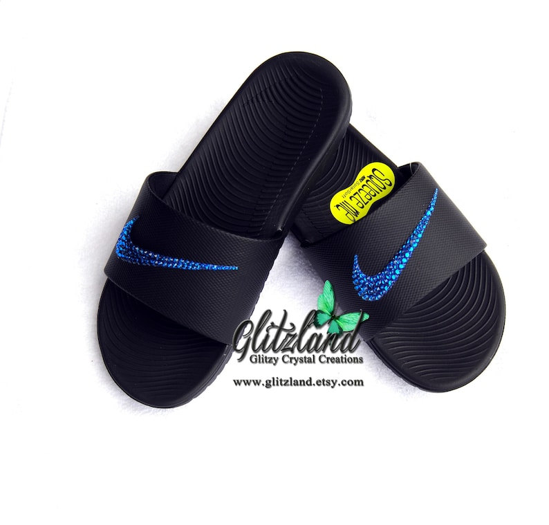 new styles de844 a8d14 Swarovski Nike Kawa Slides   Flip Flops Customized with   Etsy