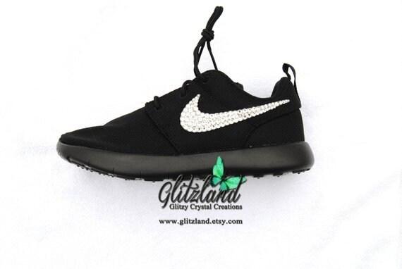 Swarovski Women Nike All Black Roshe Customized with Clear  8fcc49c02