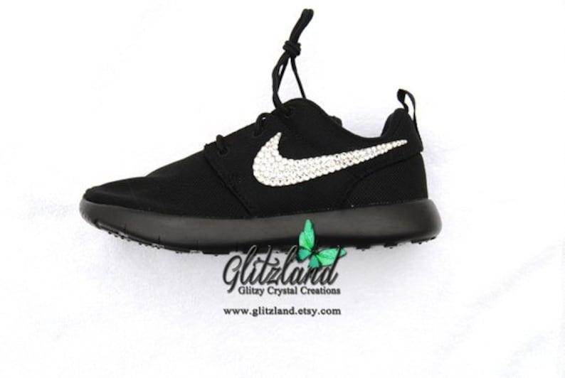 b499c53fdd8e2 Swarovski Women Nike All Black Roshe Customized with Clear