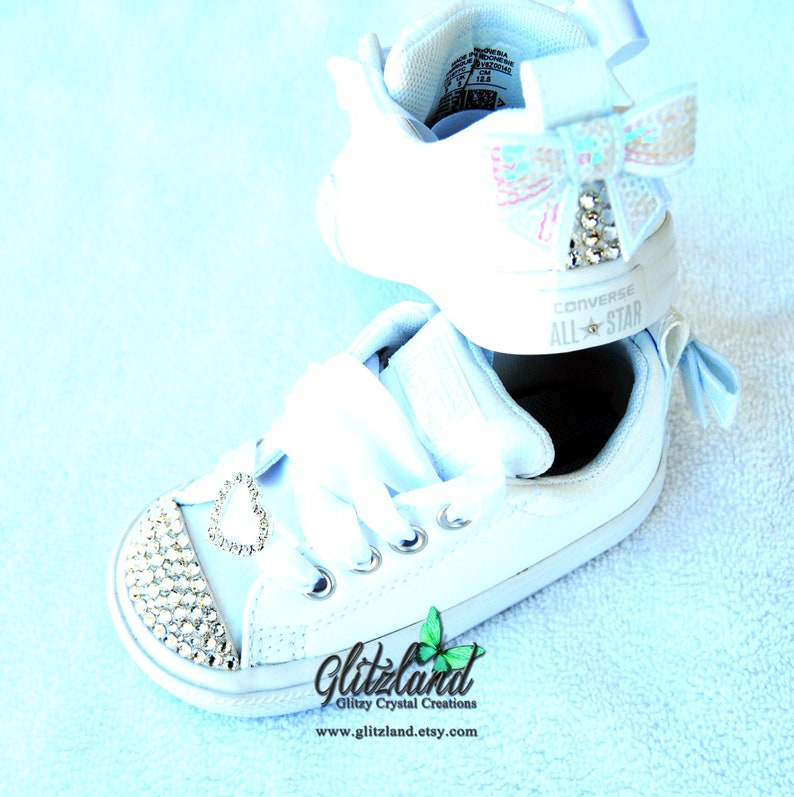 41b9765a38 White Leather Swarovski Converse Baby Infant Toddler Kids Chuck Taylor  Street Slip Leather Customized with SWAROVSKI® Crystals