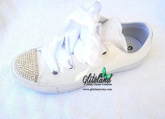 557e994624f3 SALE Swarovski Womens White Converse Chuck Taylor All Star Big