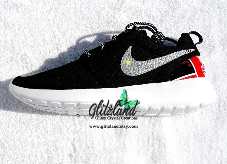 17be9c0469d1c Swarovski Nike Black Roshe Run with Nebraska Huskers Print Heel Customized  with SWAROVSKI® Crystals