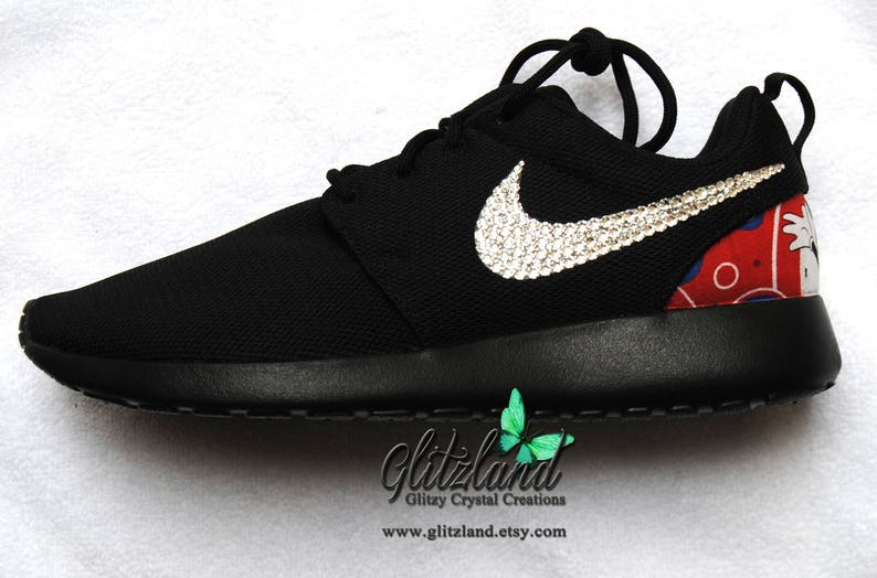 a32f7f6f9c450 Swarovski Black Nike Roshe with Minnie Mouse Or Mickey Mouse