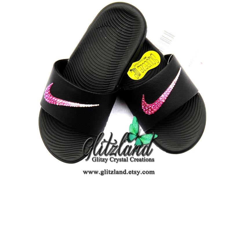 abd607700176 Swarovski Girls   Women Nike Kawa Slides Flip Flops
