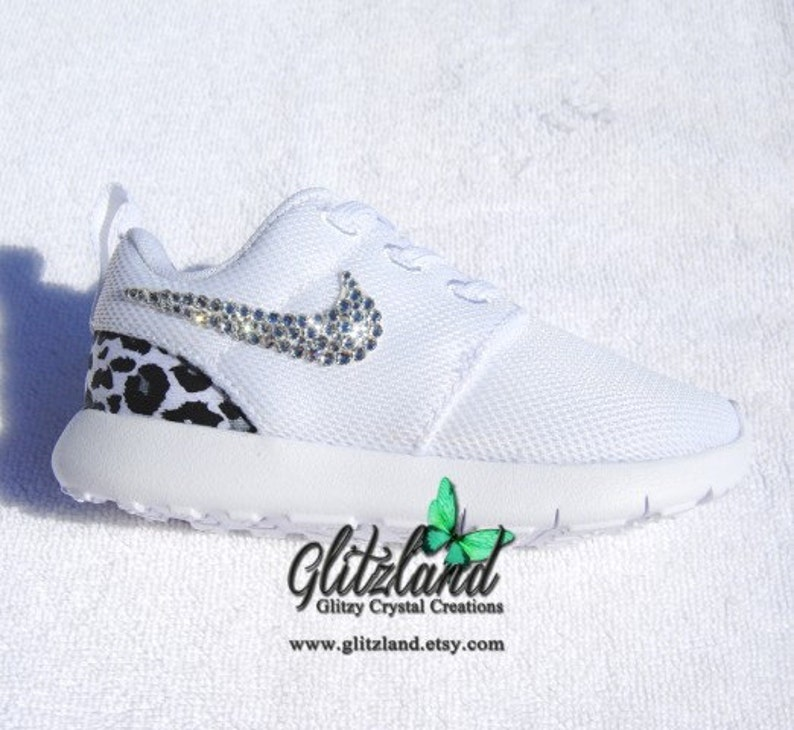 9f332cccff6fa Swarovski Nike Girls Preschool White Roshe Run Shoes with