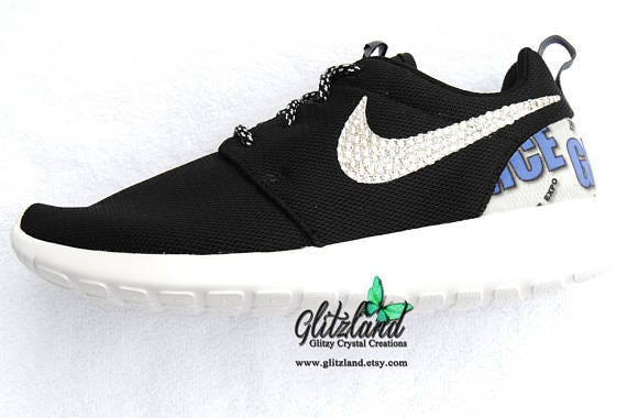 amp; Print SWAROVSKI® Nike Blinged Girls Roshe with Heel Women Swarovski Logo White Run Crystals Black 0qpxOwZ5