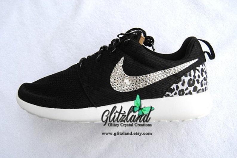 8dccb98ca86991 Swarovski Girls Nike Black White Nike Roshe Run with Cheetah