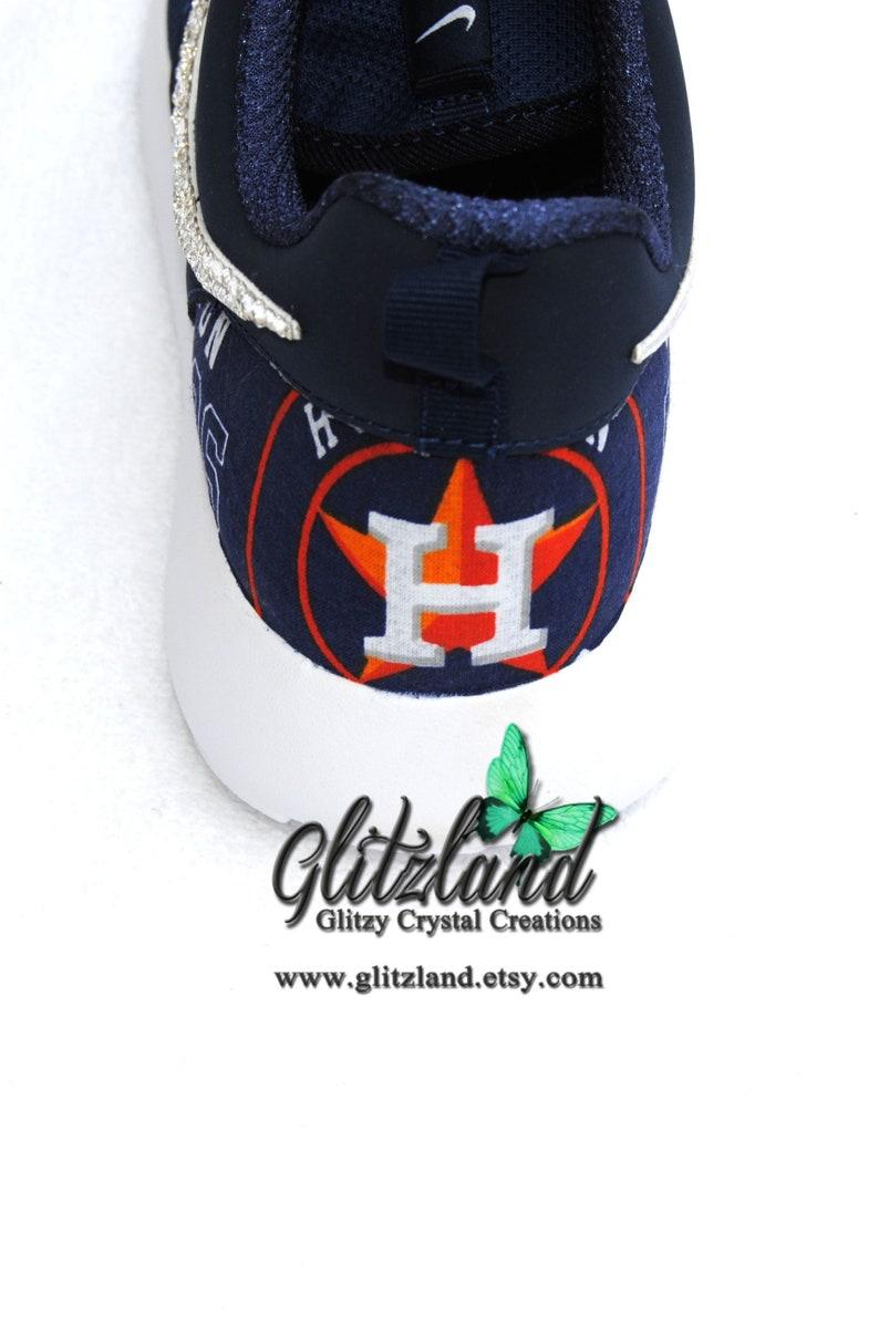 7b1c2a2bd0286 SALE Houston Astros Swarovski Girls Womens Nike Navy Roshe Run with Astros  Print Heel Customized with SWAROVSKI® Crystals
