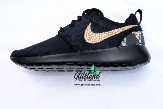 Heel Swarovski Roshe SWAROVSKI® blinged Nike w Crystals Personal Run with Photo Black wFq0xn4rF