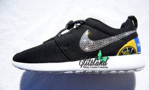 Heel State Swarovski Crystals Swarovski with Warriors Golden Nike Golden Women Blinged Girls Black with State Warriors Roshe Print 1qnxvO4