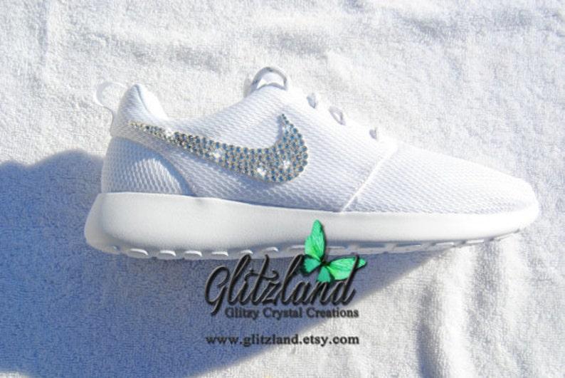 pretty nice 6fe70 00a8e Swarovski Nike Girls Preschool White Roshe Run Customized with SWAROVSKI®  Crystals, blinged Roshe, Sparkle Roshe, Bedazzled Roshe