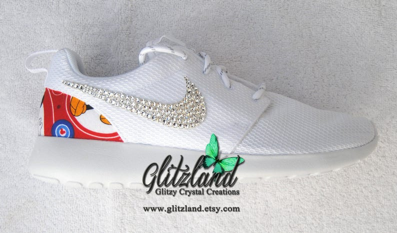7ec59f86fb47f Swarovski White Nike Roshe with Minnie Mouse Or Mickey Mouse