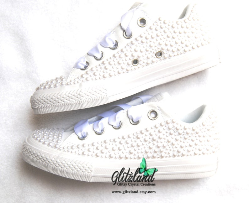 83384b35d9d5 SALE All White Converse Kids Leather Sneakers Satin Ribbon