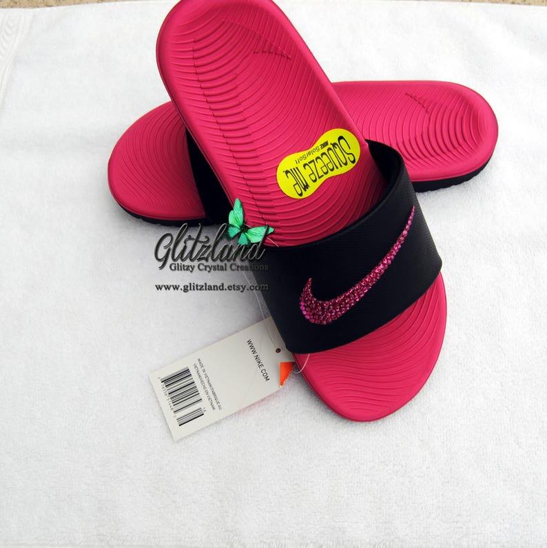 online retailer d453d 9fcf4 Swarovski Girls Women Nike Kawa Slides Flip Flops Customized   Etsy