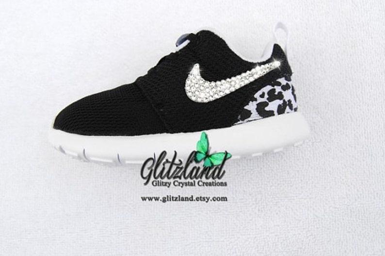 8a2ac6d8ada73 Swarovski Nike Preschool Black Roshe Run with Cheetah Print