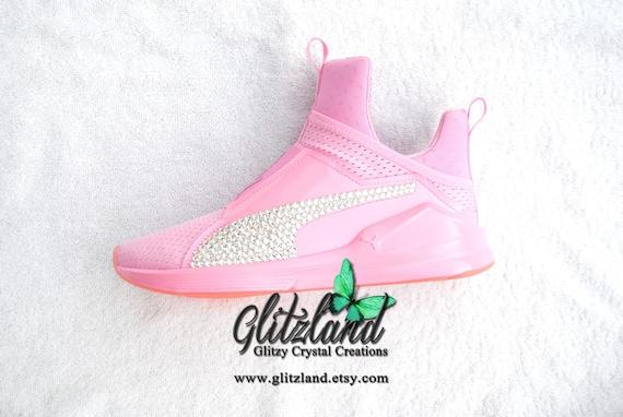 SALE Swarovski Womens US 7.5 Pink Puma Fierce Customized with  c89af5b83