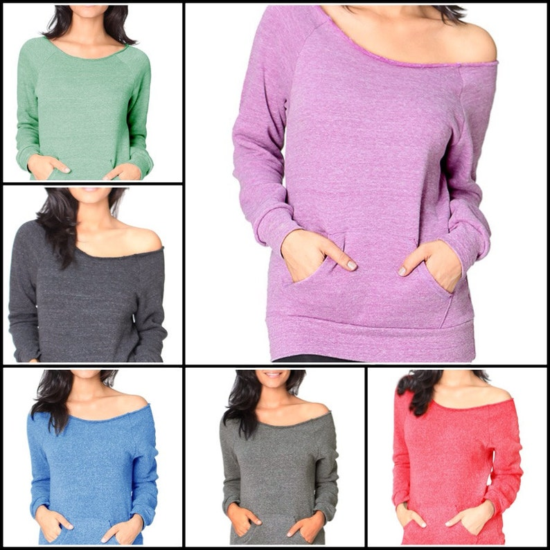 4b255c7faf72b New Off the Shoulder Sweatshirt Eco Friendly Made in the