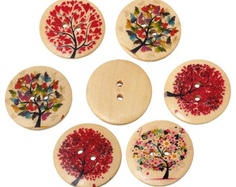 Sadingo wooden buttons trees, craft buttons wood - 20 pieces - 3 cm - Random mix