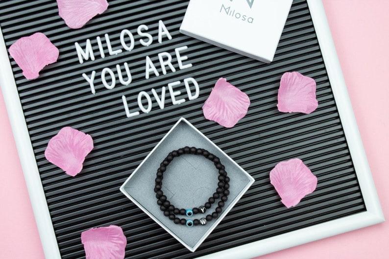 Nazar bracelets Milosa partner bracelet Evil Eye couple bracelet gift set for couples lovers couple bracelet black beads