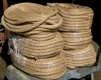 """1"""" diameter Electric Rope Light Cord for DIY Pendant Lighting - Soft Hemp (like Jute or Manila) with 3x18 AWG SVT Electric Wire Lamp Cord"""
